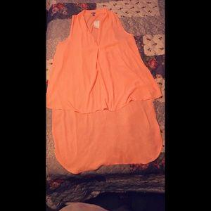 Peach High-Low Dress Shirt